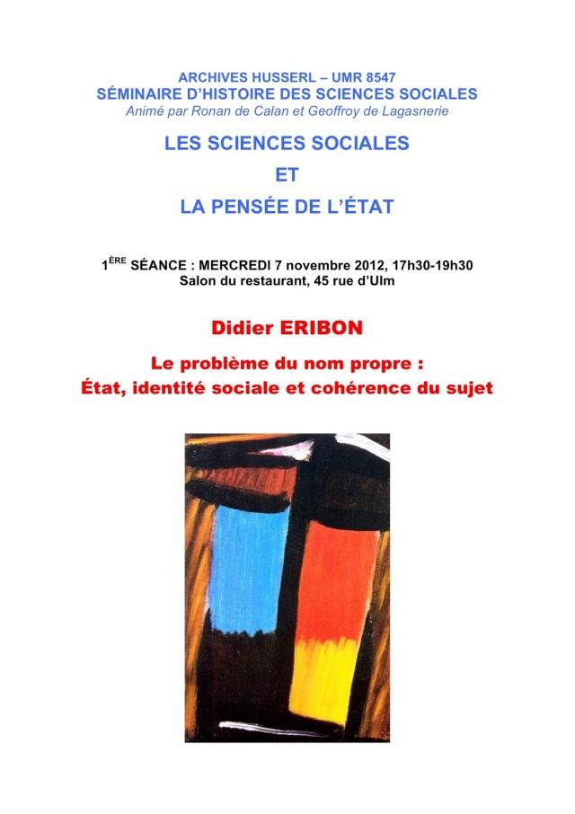 SÉMINAIRE D'HISTOIRE DES SCIENCES SOCIALES(1)